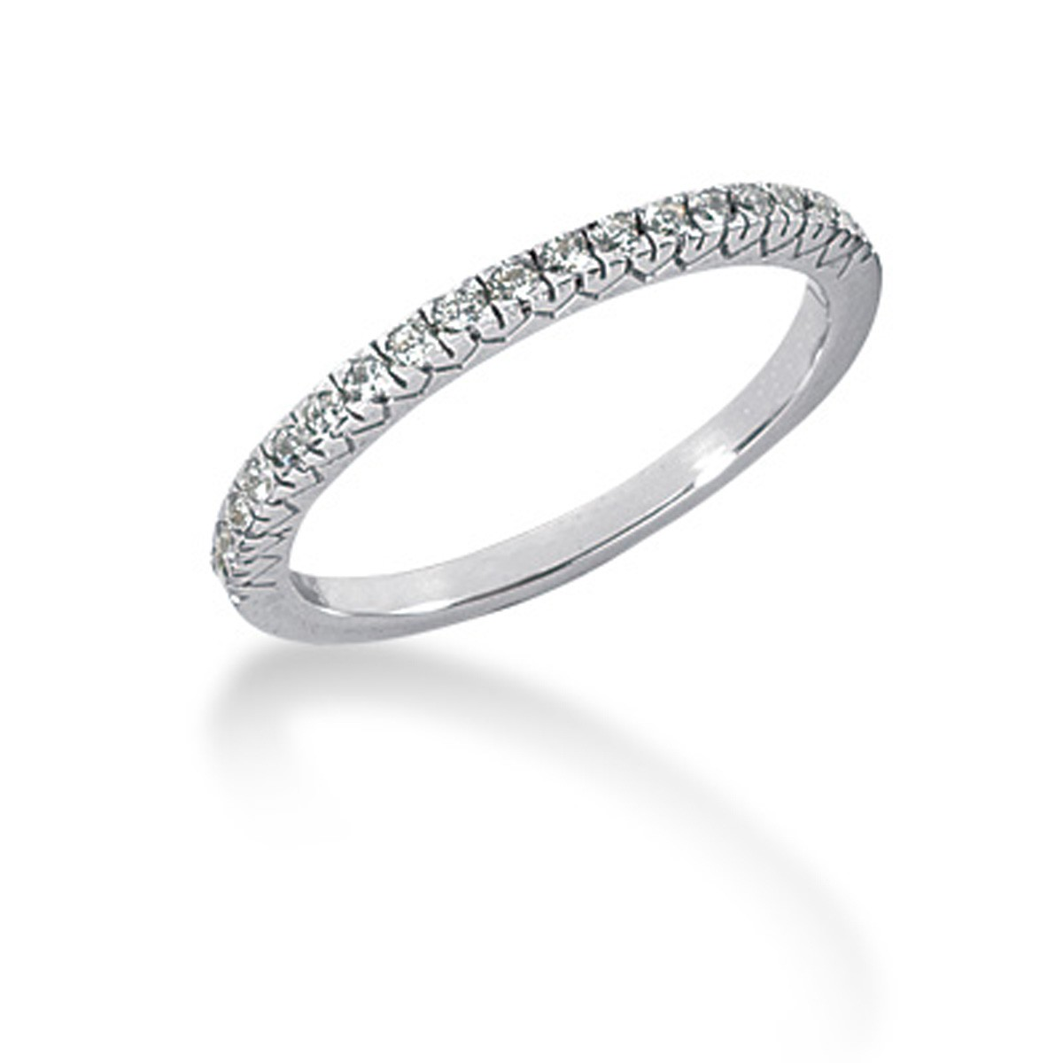 Pavé Bands: Fishtail V Pave Diamond Wedding Ring Band In 14K White