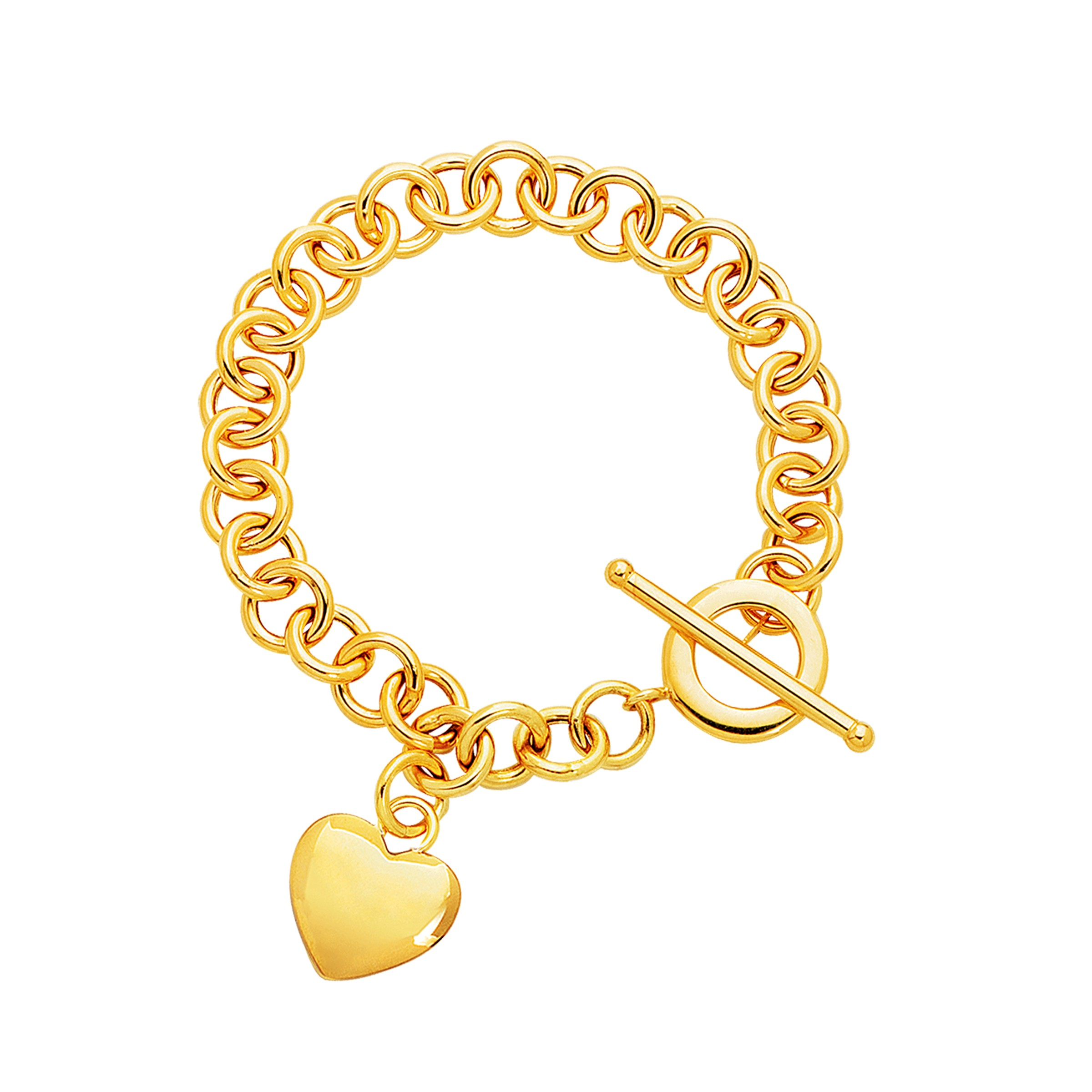 toggle puffed heart bracelet in 14k yellow gold