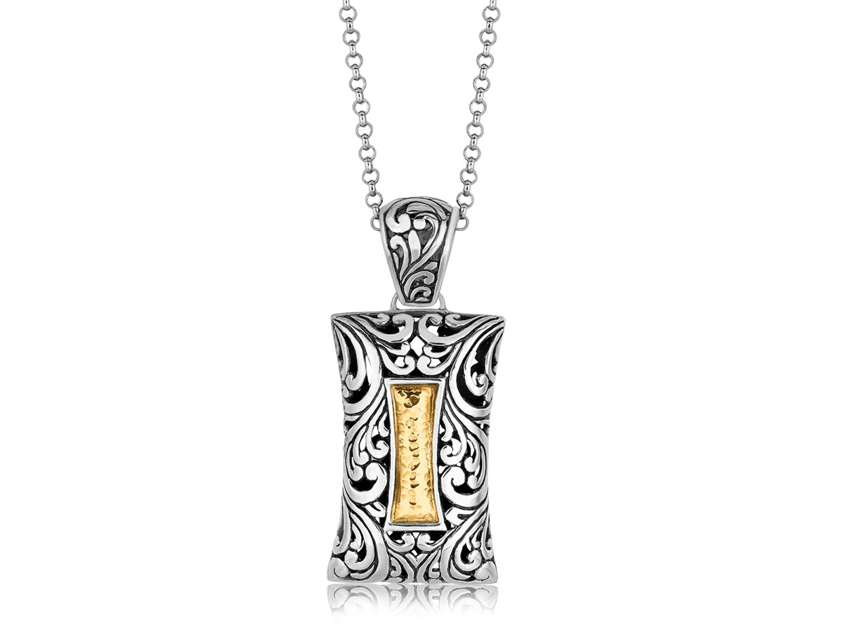 Concave rectangle pendant with flourishes and hammered detailing in concave rectangle pendant with flourishes and hammered detailing in 18k yellow gold and sterling silver mozeypictures Gallery