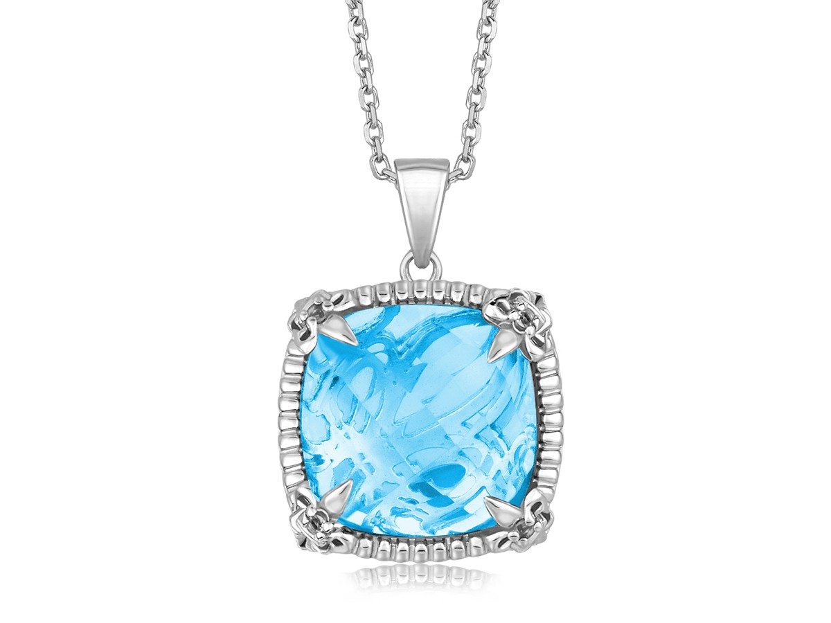 Sky Blue Topaz Square Pendant With White Sapphires