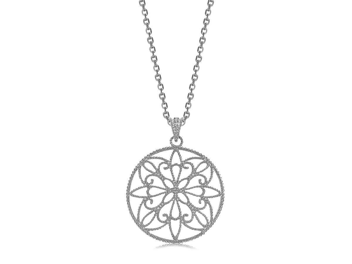 Round filigree style pendant in rhodium plated sterling silver aloadofball Image collections