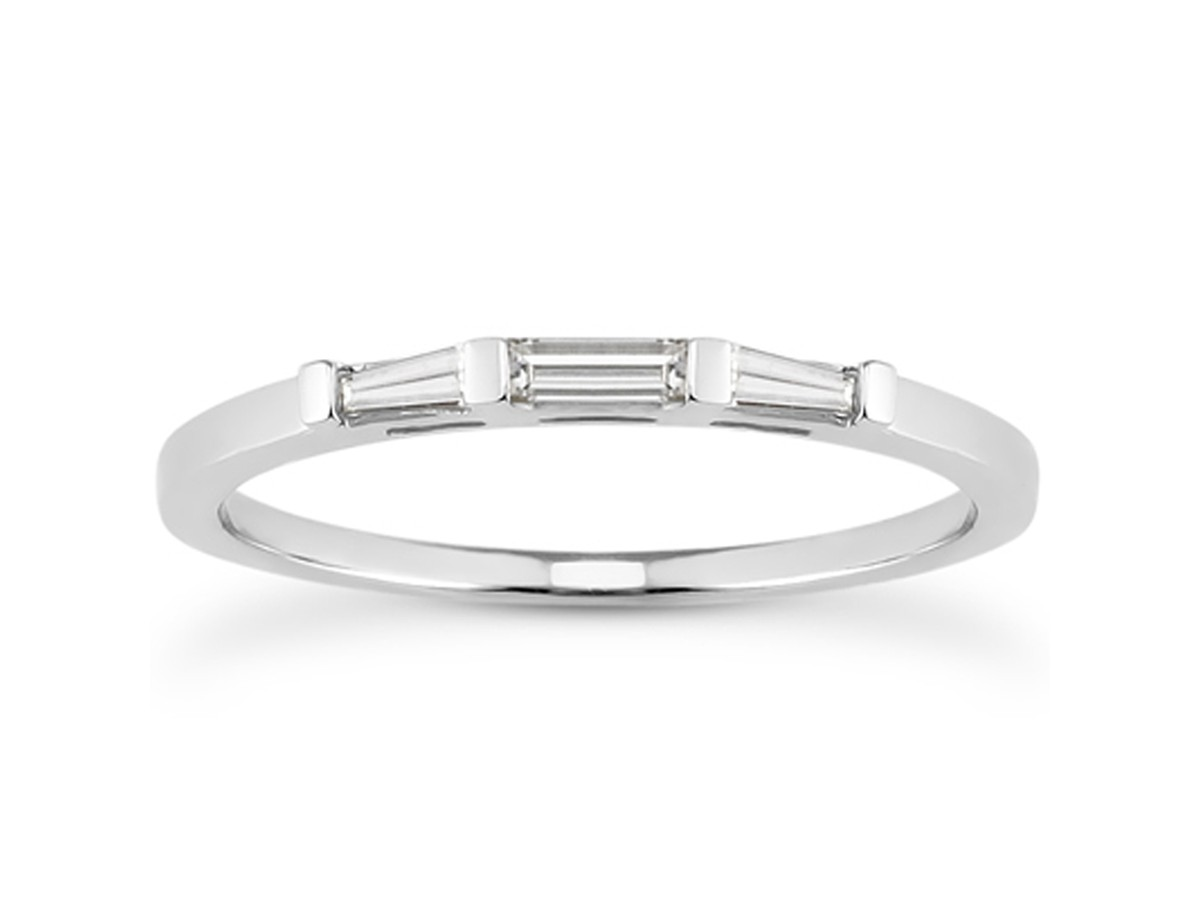 Thin Tapered Baguette Diamond Wedding Band in 14K White Gold ...
