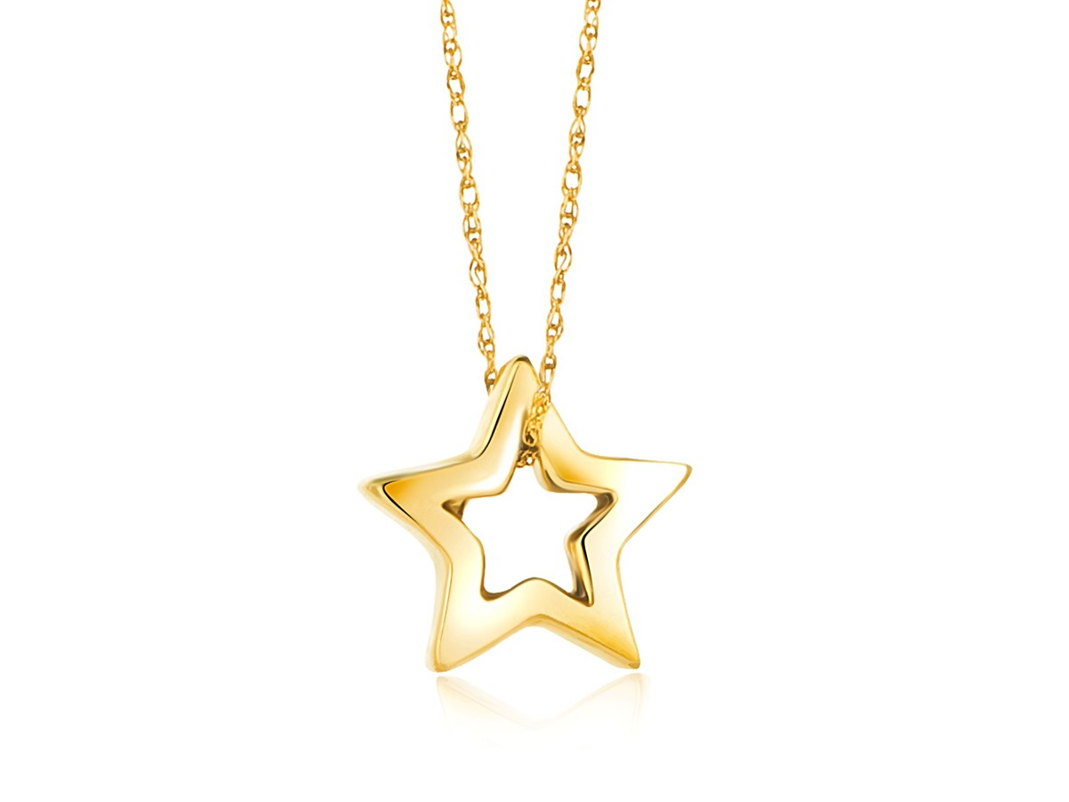 Open star pendant in 14k yellow gold richard cannon jewelry open star pendant in 14k yellow gold mozeypictures Gallery
