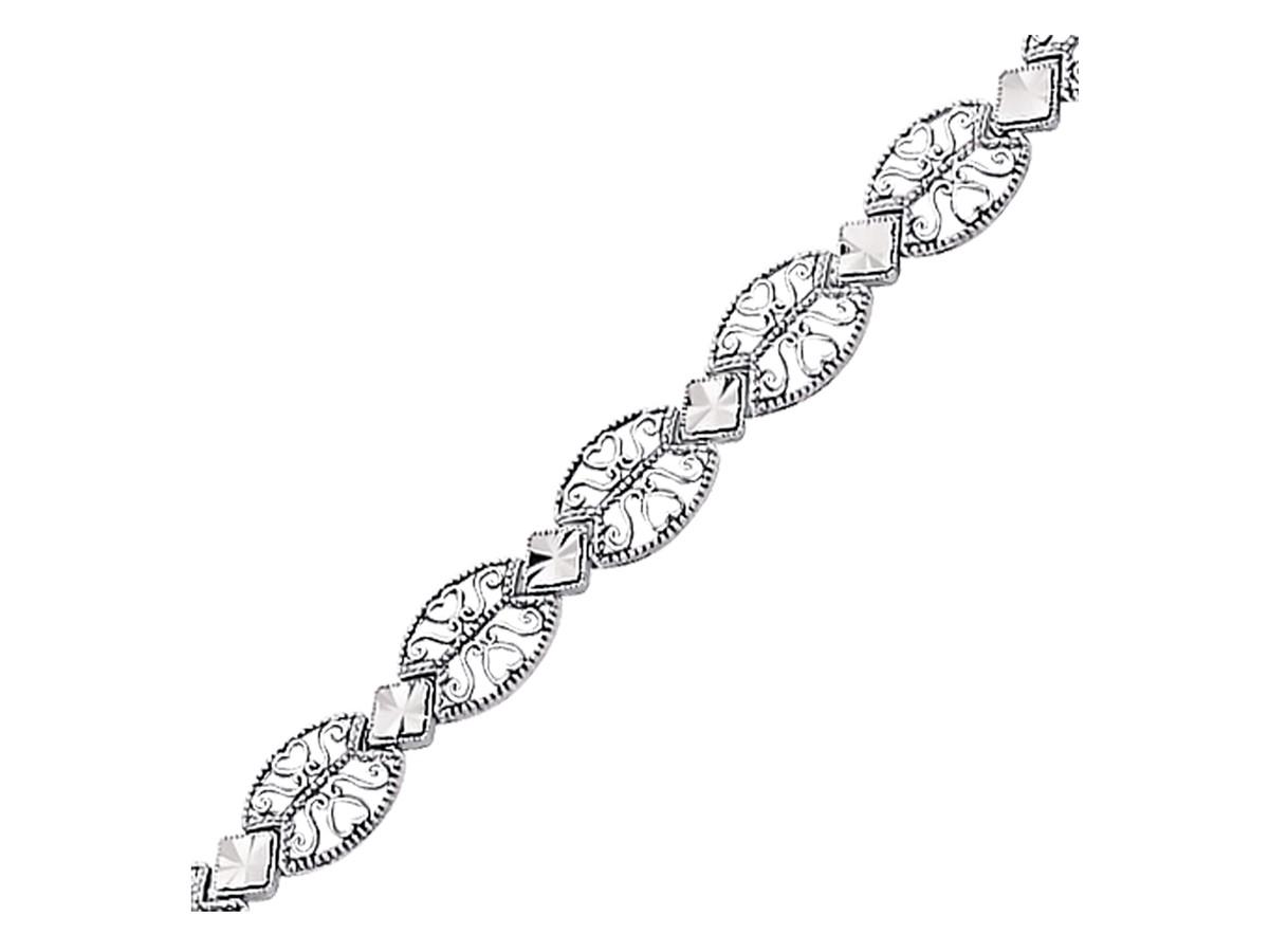Antique Vintage Look Filigree Oval Link Bracelet In 14k