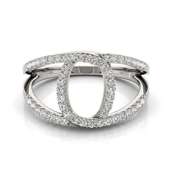 Loop Design Dual Band Ring With Diamonds In 14k White Gold