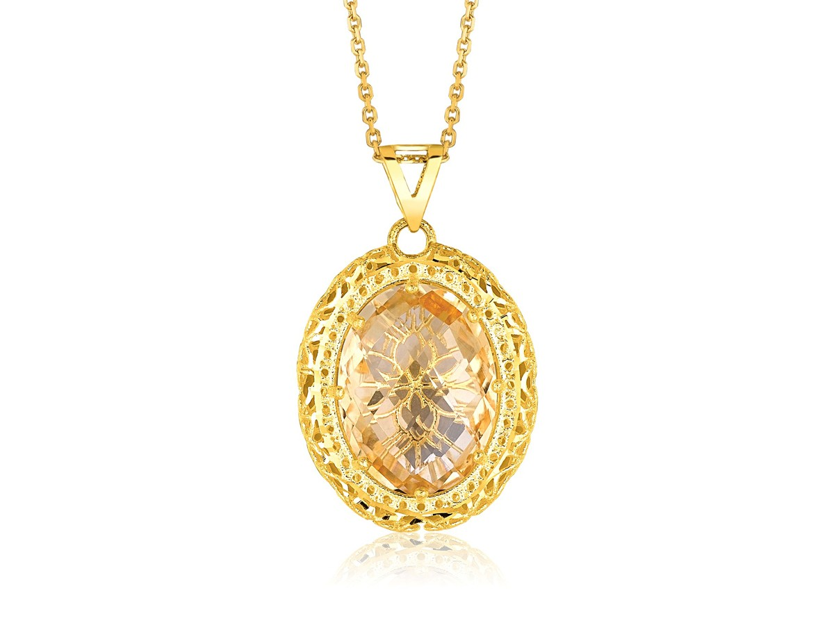 oval citrine pendant in 14k yellow gold richard cannon