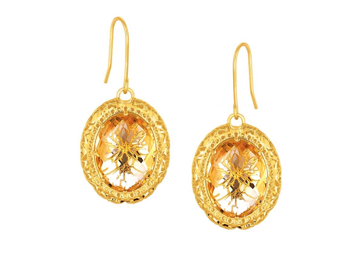 Oval Citrine Drop Earrings In 14k Yellow Gold