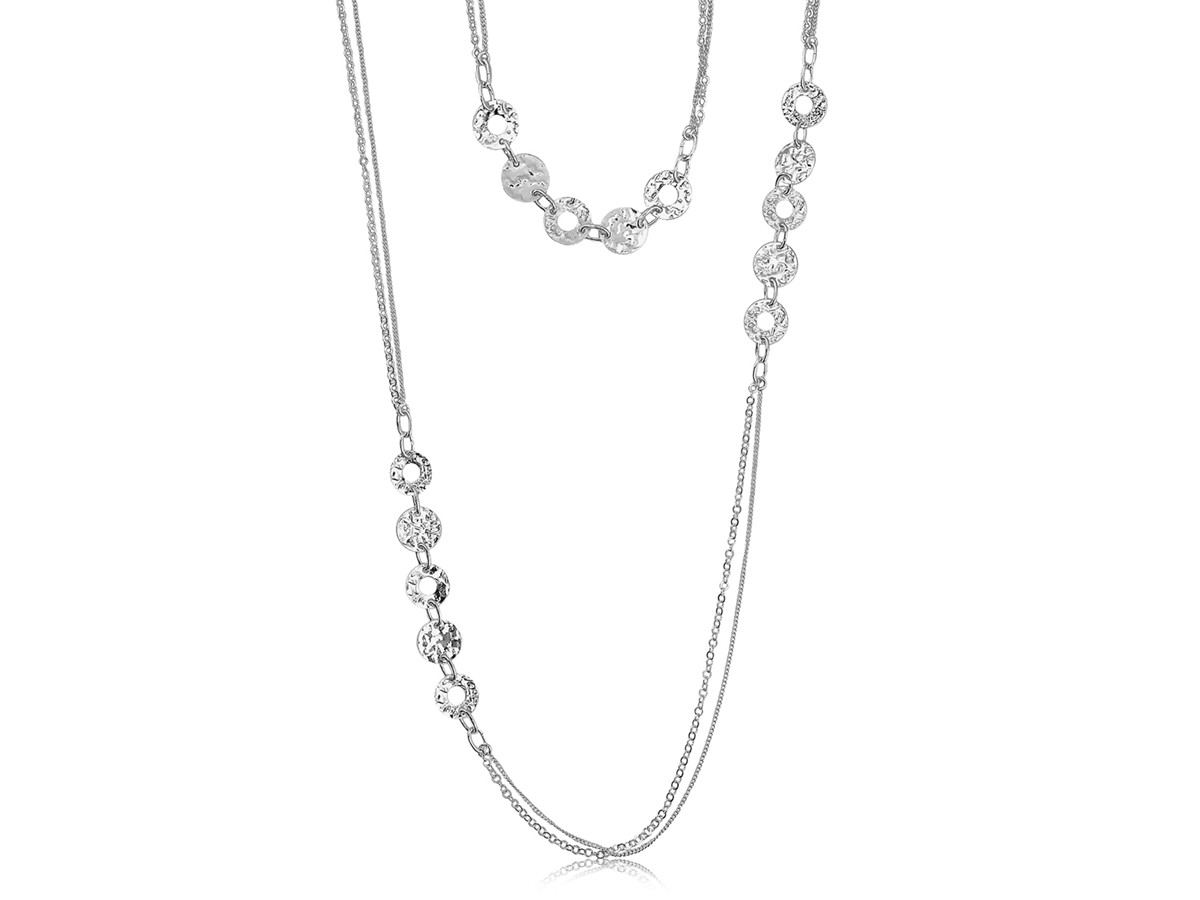 Multi Style Chain And Hammered Round Motif Long Necklace