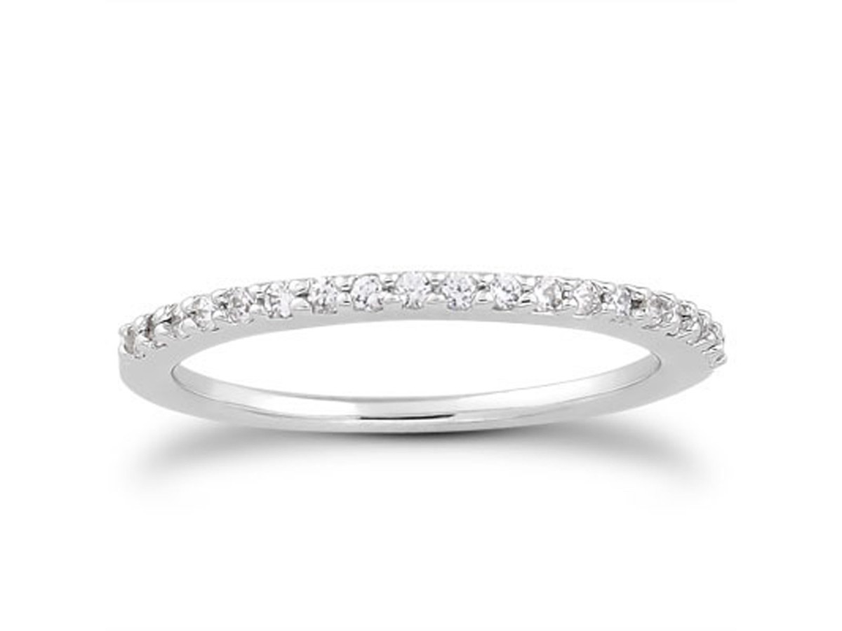 Slender Micro Prong Diamond Wedding Ring Band In 14k White Gold