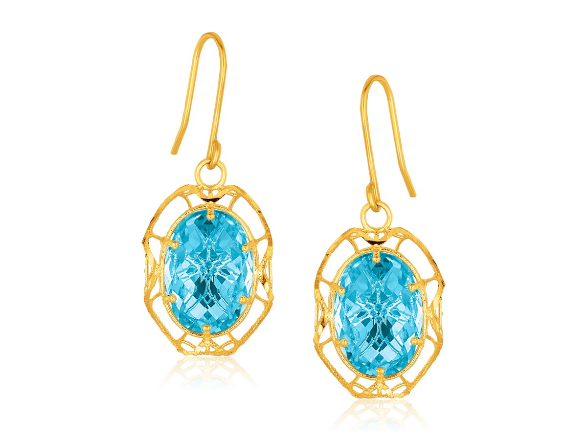 Oval Blue Topaz Drop Earrings In 14k Yellow Gold