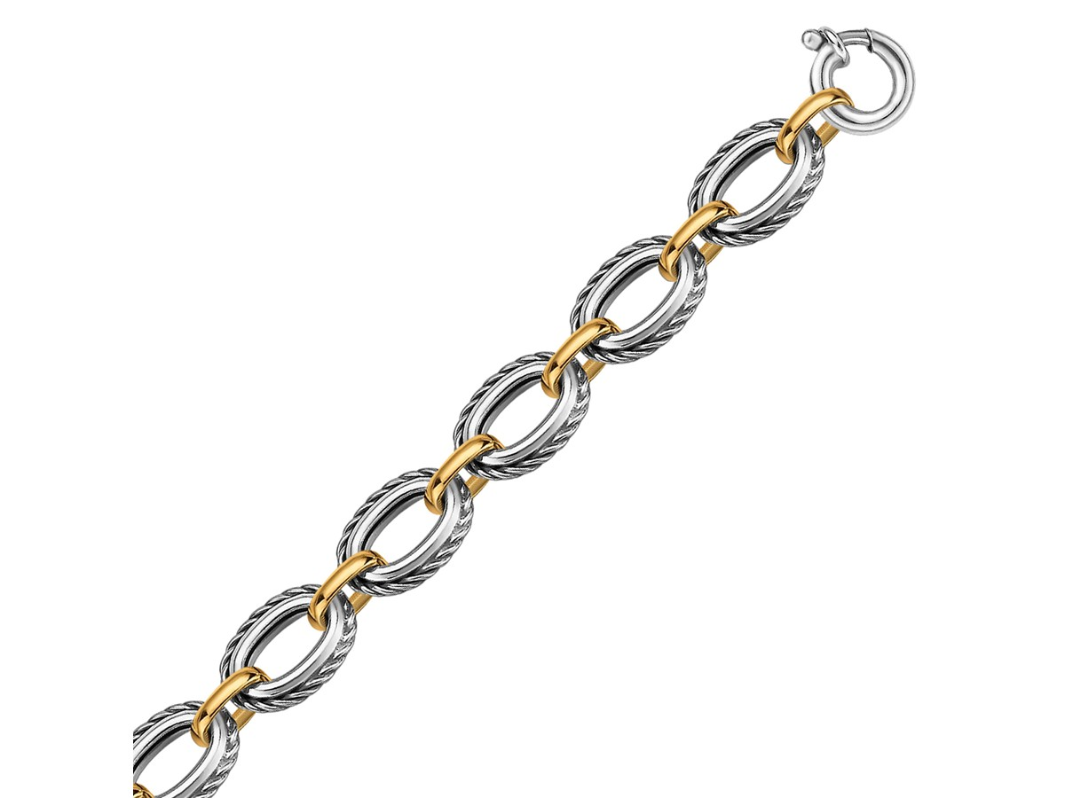 Cable Design Chain Bracelet In 18k Yellow Gold And
