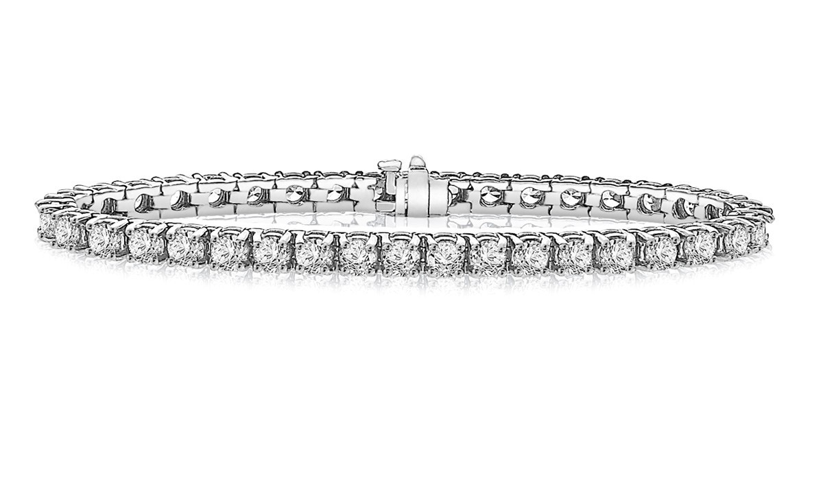 Clic Diamond Tennis Bracelet In 14k White Gold 10 Ct Tw