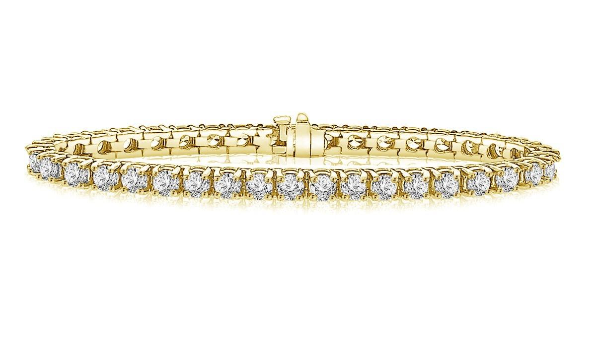 Classic Diamond Tennis Bracelet In 14k Yellow Gold 10 Ct