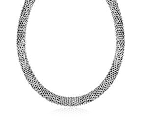 Rounded Style Mesh Necklace in Rhodium Plated Sterling Silver
