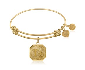 Expandable Yellow Tone Brass Bangle with Think Positive Symbol