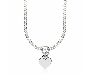 Heart Charmed Rolo Chain Necklace in Rhodium Plated Sterling Silver