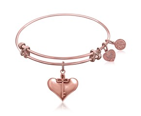 Expandable Pink Tone Brass Bangle with Cherish Symbol