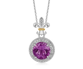 Round Amethyst and Diamond Embellished Fluer De Lis Style Pendant in 18K Yellow Gold and Sterling Silver  (.08 ct. tw.)