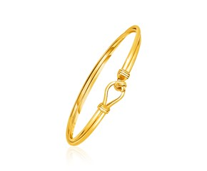 14K Yellow Gold Hook Closure Bangle with Love Knot