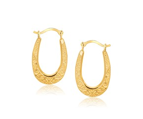 Fancy Oval Hoop Earrings in 10K Yellow Gold