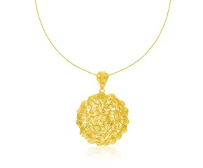 Round Twisted Style Pendant in 14K Yellow Gold