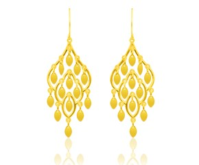 Lace Style Cascading Earrings in 14K Yellow Gold