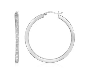 Glitter Textured Square Tube Hoop Earrings in Sterling Silver