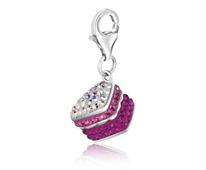 Cake Multi Tone Encrusted Charm in Sterling Silver