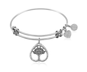 Expandable White Tone Brass Bangle with Tree Of Life Growth Maturity Symbol
