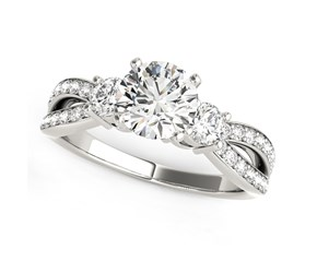 14K White Gold Split Shank Round Diamond Engagement Ring (1 5/8 ct. tw.)