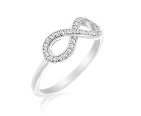 Diamond Studded Infinity Motif Ring in 14K White Gold (.17ct tw)