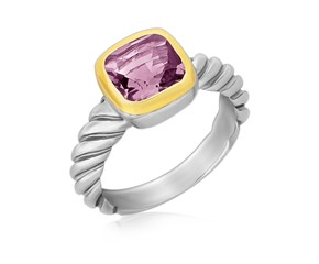 Cushion Amethyst Cable Style Ring in 18K Yellow Gold and Sterling Silver