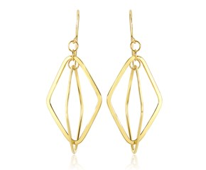 Flat Entwined Open Diamond Drop Earrings in 14K Yellow Gold