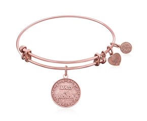 Expandable Pink Tone Brass Bangle with Maid Of Honor Symbol