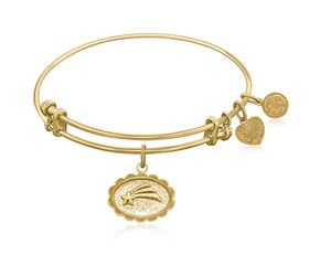 Expandable Yellow Tone Brass Bangle with Shooting Star Make A Wish Symbol