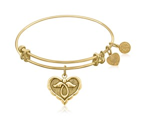 Expandable Yellow Tone Brass Bangle with Angel Comfort Hope Symbol