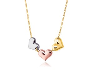 Triple Heart Necklace in 14K Tri-Color Gold