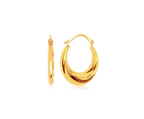 Graduated Oval Hoop Earrings in 14K Yellow Gold