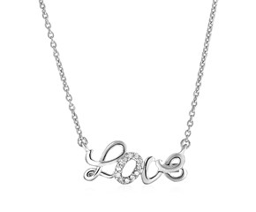 "Sterling Silver ""Love"" Pendant with Diamonds"