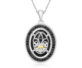 Fancy Fleur De Lis Motif Rock Crystal and Black Diamond Oval Pendant in18K Yellow Gold and Sterling Silver (.42ct tw)