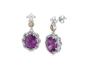 Fancy Oval Amethyst and Diamond Accented Fleur De Lis Motif Earrings in 18K Yellow Gold and Sterling Silver (.07 ct. tw.)