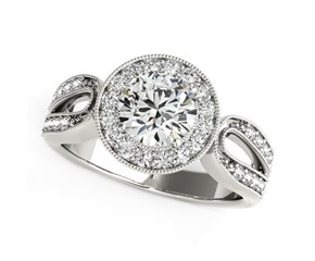 Fancy Teardrop Split Shank Round Diamond Engagement Ring in 14K White Gold (1 1/3 ct. tw.)