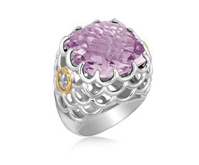 Fancy Chunky Amethyst Fleur De Lis Ring in 18K Yellow Gold and Sterling Silver