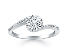 Bypass Swirl Diamond Halo Engagement Ring in 14K White Gold