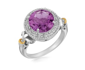 Round Amethyst and Diamond Adorned Fluer De Lis Style Ring in 18K Yellow Gold and Sterling Silver  (.07 ct. tw.)