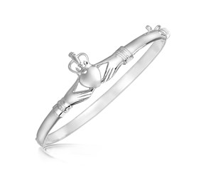 Claddagh Motif Slim Bangle in Rhodium Plated Sterling Silver