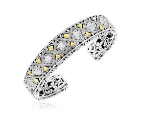 Diamond Accented Byzantine Style Patterned Cuff in 18K Yellow Gold and Sterling Silver
