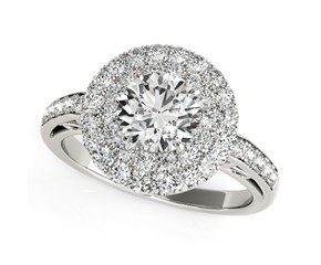 Two-Row Border Round Diamond Engagement Ring in 14K White Gold (2 ct. tw.)