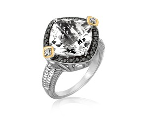 Crystal Quartz and Diamond Accented Cushion Ring in 18K Yellow Gold and Sterling Silver (.23 ct. tw.)