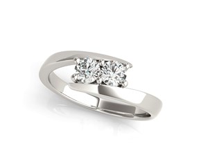Common Prong Two Stone Diamond Ring in 14K White Gold (1/2 ct. tw.)